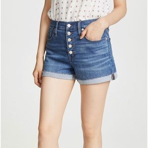Madewell High Rise Button Fly Shorts Derby Wash